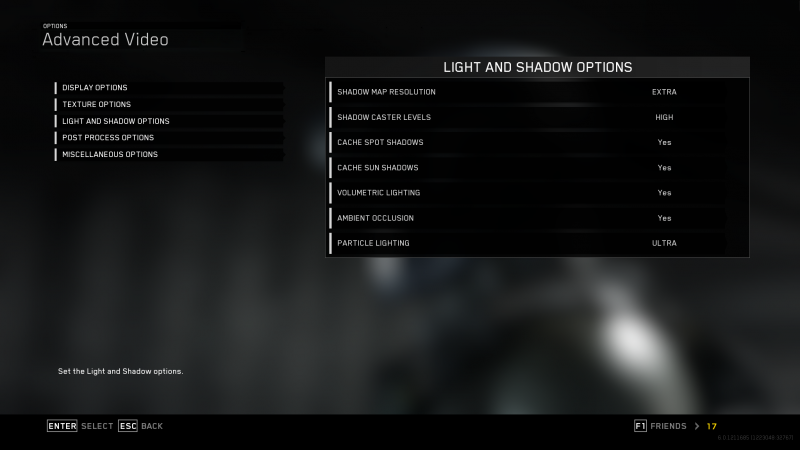 Light And Shadow Options