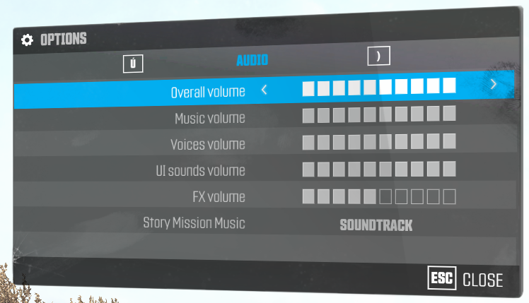 menu audio