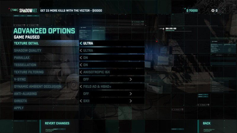 Blacklist graphics options