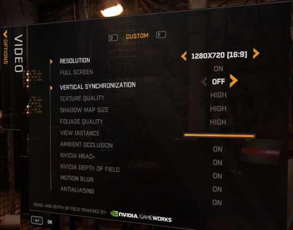 settings graphics